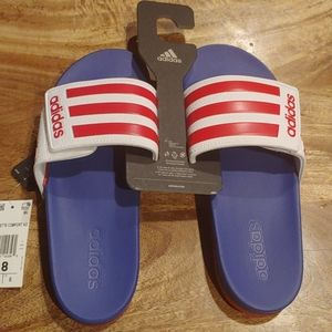 NIB Adidas red, white and blue Slided